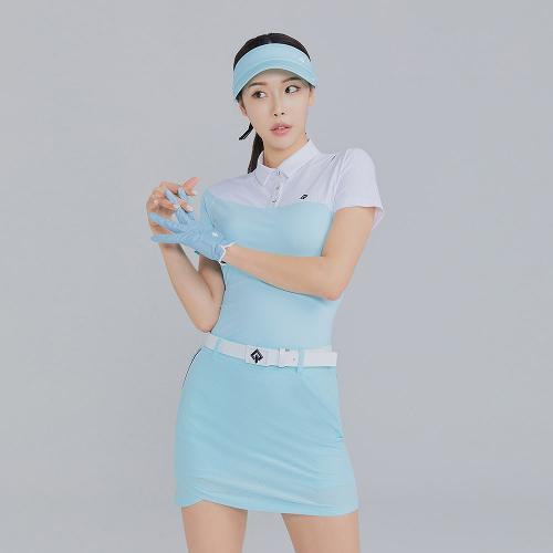 [레노마골프]21SS 여성 상단 배색 카라 반팔 티셔츠 RWTYK6159-901_G