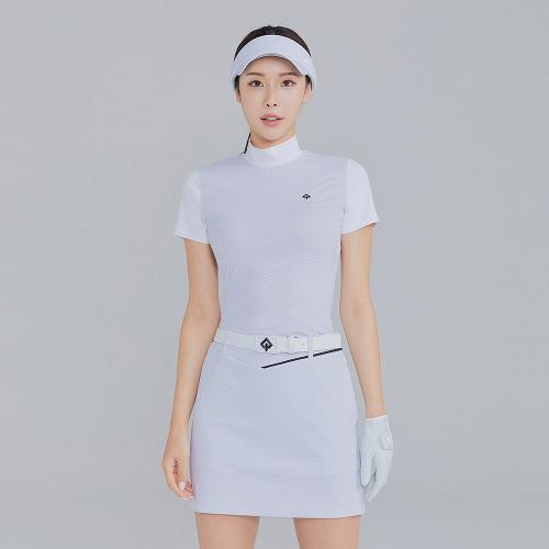 [레노마골프]21SS 여성 자가드 하이넥 반팔 티셔츠 RWTHK6151-101_G