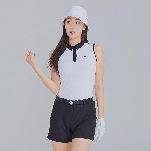 [레노마골프]21SS 여성 배색 잔골지 카라 민소매 티셔츠 RWTSK6118-101_G