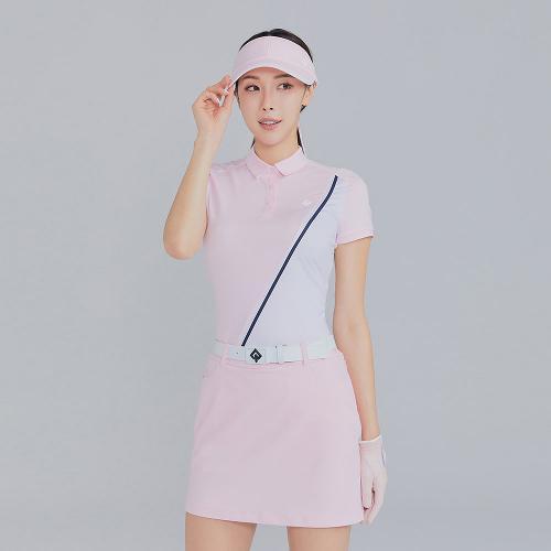[레노마골프]21SS 여성 사선 배색 카라 반팔 티셔츠 RWTYK6115-411_G