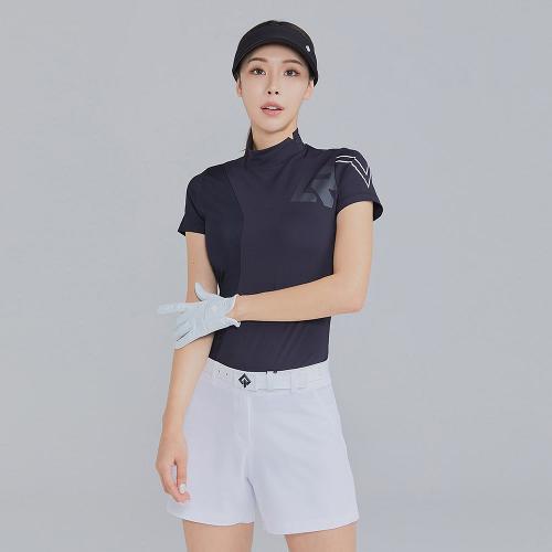 [레노마골프]21SS 여성 매쉬 로고 포인트 하이넥 반팔 티셔츠 RWTHK6104-199_G