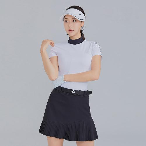 [레노마골프]21SS 여성 매쉬 로고 포인트 하이넥 반팔 티셔츠 RWTHK6104-101_G