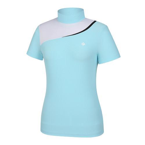 [레노마골프]21SS 여성 상단 컬러블럭 하이넥 반팔 티셔츠 RWTHK6103-901_G