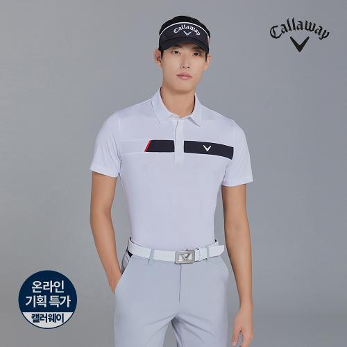 [캘러웨이]기획  남성 배색 포인트 카라 반팔 티셔츠 CMTYJ2445-100_G