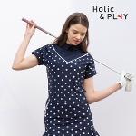 홀릭앤플레이 여성 스판 도트 반팔티셔츠 HB2WTS011NY