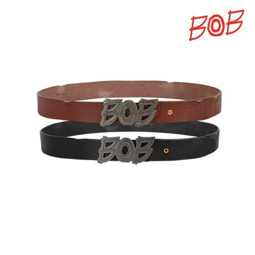 BOB 남성 메탈로고 포인트 소가죽벨트 - GBD1BM020