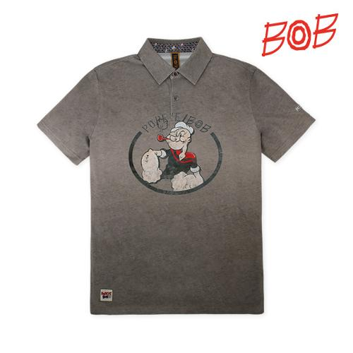 BOB 남성 뽀빠이로고 반팔 카라 티셔츠 - GBM1TS100_BR