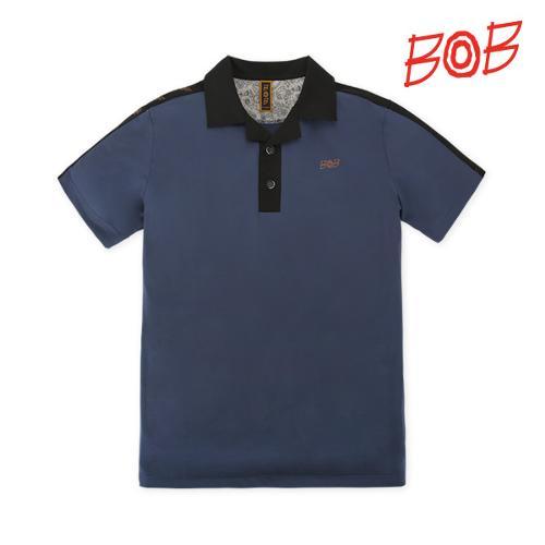 BOB 남성 로고테잎 반팔 카라 티셔츠 - GBM1TS060_BL