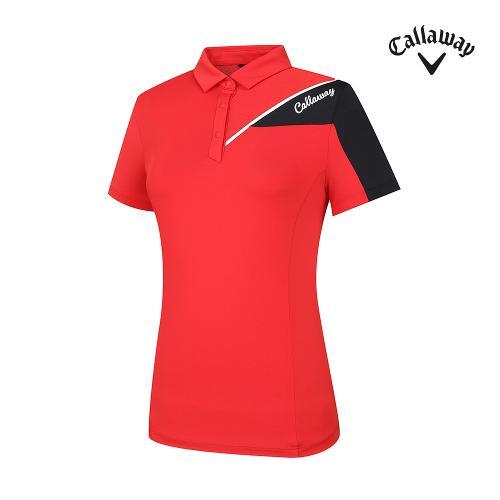 [캘러웨이]기획 여성 상단 배색 카라 반팔 티셔츠 CWTYJ6441-500_G