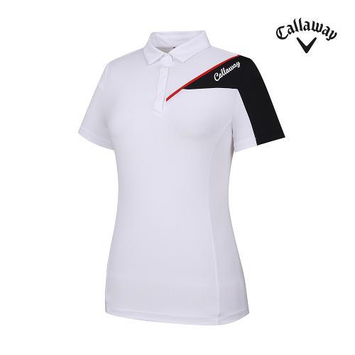 [캘러웨이]기획 여성 상단 배색 카라 반팔 티셔츠 CWTYJ6441-100_G