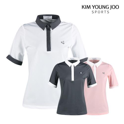 김영주스포츠 여성 메쉬 반팔 골프 셔츠 LB1M608W