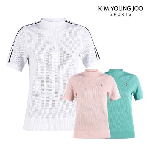 김영주스포츠 여성 메쉬 반팔 골프 셔츠 LB1M607W