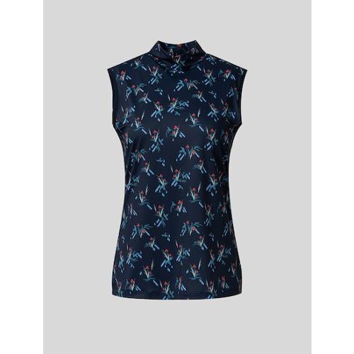 [빈폴골프] 여성 네이비 나난 플로럴 프린팅 셔링넥 슬리브리스 티셔츠 (BJ1542A22R)