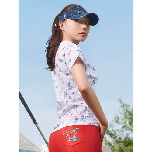 [빈폴골프] 여성 화이트 나난 플로럴 프린팅 티셔츠 (BJ1542A201)