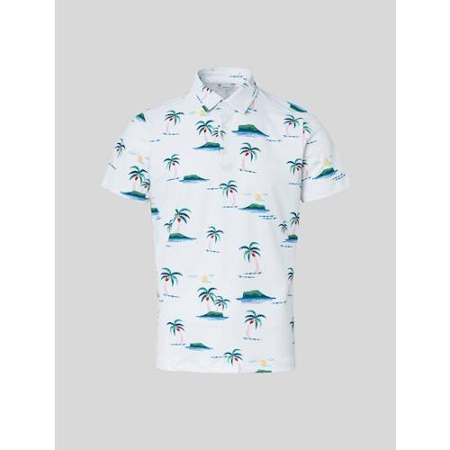 [빈폴골프] 남성 화이트 나난 그래픽 칼라 티셔츠 (BJ1542B121)