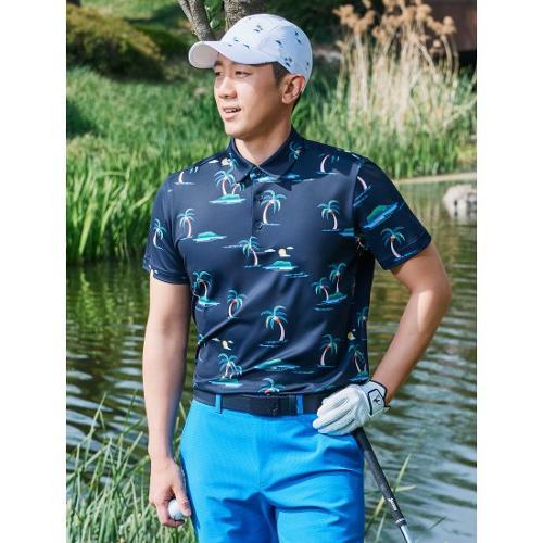 [빈폴골프] 남성 네이비 나난 그래픽 칼라 티셔츠 (BJ1542B12R)