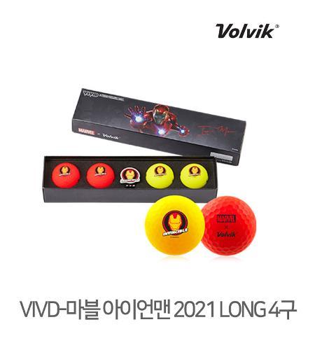 볼빅 정품 2021 마블 아이어맨 VIVID 롱세트 골프볼 3피스 4알