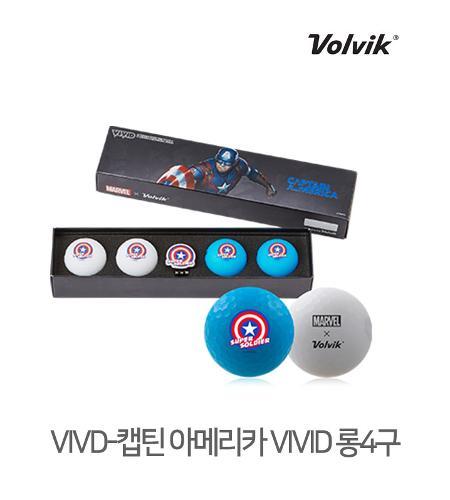 볼빅 정품 2021 마블 캡틴아메리카 VIVID 롱세트 골프볼 3피스 4알