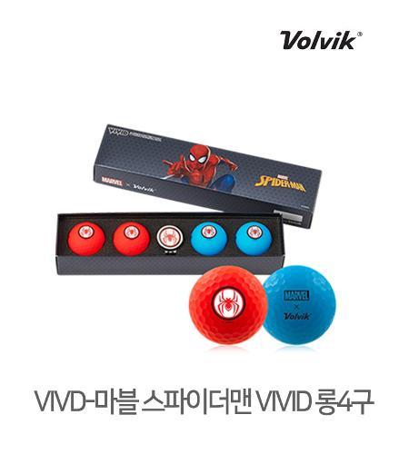 볼빅 정품 2021 마블 스파이더맨 VIVID 롱세트 골프볼 3피스 4알