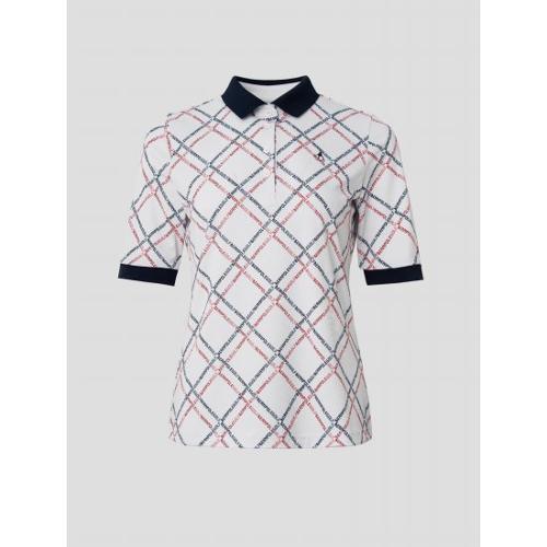[빈폴골프] 여성 아이보리 로고 프린트 5부 칼라 티셔츠 (BJ1642A050)