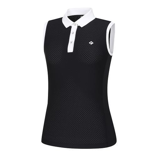 [레노마골프]21SS 여성 배색 펀칭 카라 민소매 티셔츠 RWTSK6158-199_G