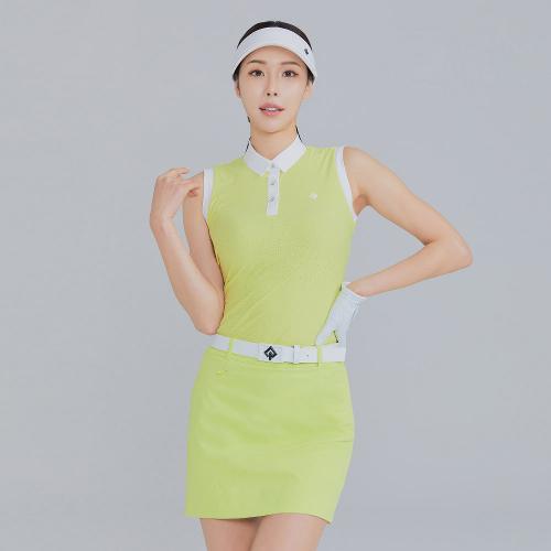 [레노마골프]21SS 여성 배색 펀칭 카라 민소매 티셔츠 RWTSK6158-211_G