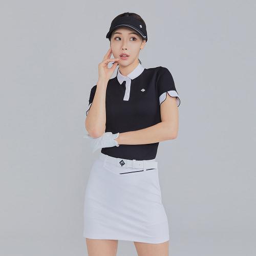[레노마골프]21SS 여성 자가드 배색 카라 반팔 티셔츠 RWTYK6107-199_G
