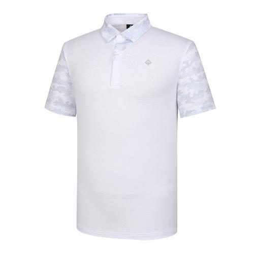 [레노마골프]21SS 남성 카모 패턴 배색 카라 반팔 티셔츠 RMTYK2178-101_G