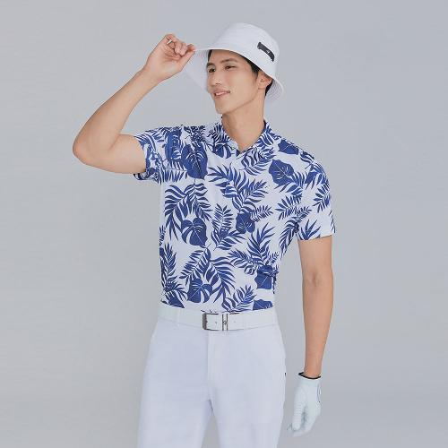 [레노마골프]21SS 남성 야자수 프린트 카라 반팔 티셔츠 RMTYK2175-101_G