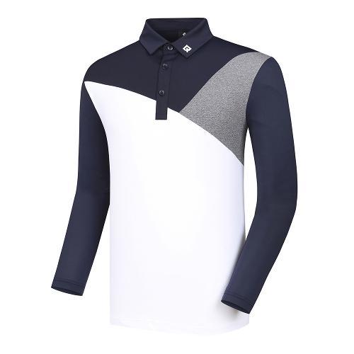 [레노마골프]남성 사선 배색 카라 티셔츠 RMTYJ2118-925_G