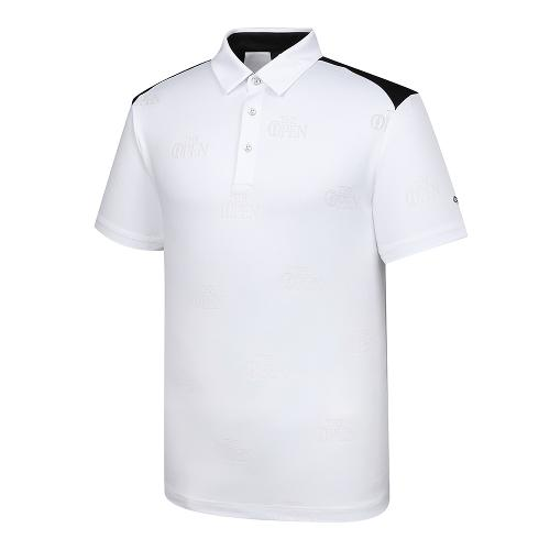 [THE OPEN X renoma] 남성 로고 자가드 배색 카라 반팔 티셔츠 RMTYK2195-101_G
