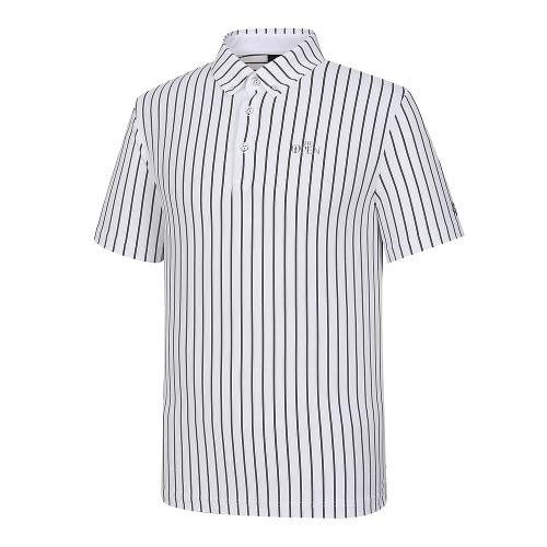 [THE OPEN X renoma] 남성 세로 스트라이프 카라 반팔 티셔츠 RMTYK2191-101_G