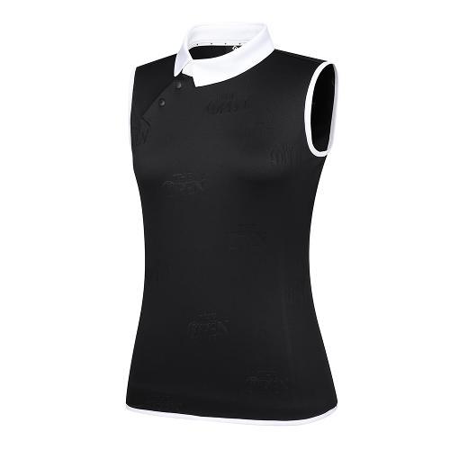 [THE OPEN X renoma] 여성 로고 자가드 배색 카라 민소매 티셔츠 RWTSK6193-199_G