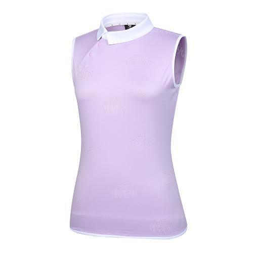 [THE OPEN X renoma] 여성 로고 자가드 배색 카라 민소매 티셔츠 RWTSK6193-604_G