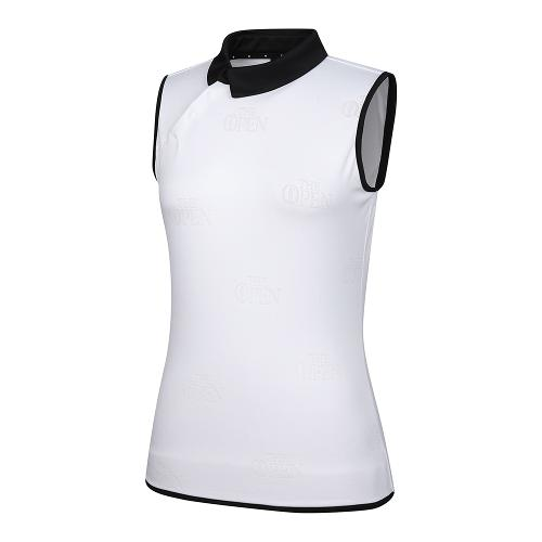 [THE OPEN X renoma] 여성 로고 자가드 배색 카라 민소매 티셔츠 RWTSK6193-101_G