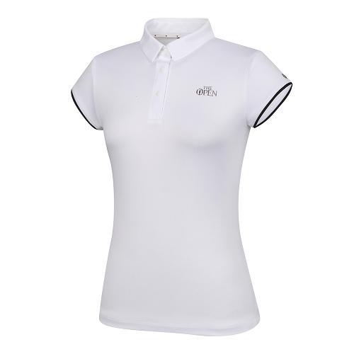 [THE OPEN X renoma] 여성 등판 로고 자가드 카라 반팔 티셔츠 RWTYK6191-101_G