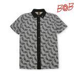 BOB 남성 린넨 원단 로고플레이 티셔츠 - GBM1TS070_GR