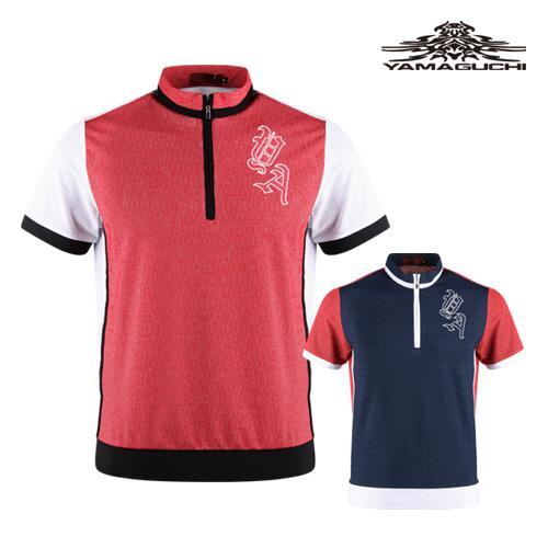 야마구찌 남성 반팔 반집업 골프셔츠 YG1M413
