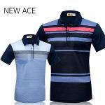 [NEW ACE] 뉴에이스 배색 패턴 카라 면 나염 반팔티셔츠  Model No_N2-0Q033