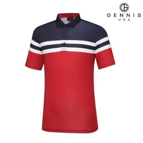 [데니스골프]스트라이프 블럭 티셔츠 레드_NALMMTS011