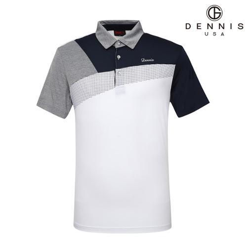 [데니스골프]사선 컬러블럭 Y에리 티셔츠_NAIMMTS042