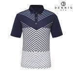 [데니스골프]기하학 패턴 스트레치 티셔츠 네이비_IBMMPK06