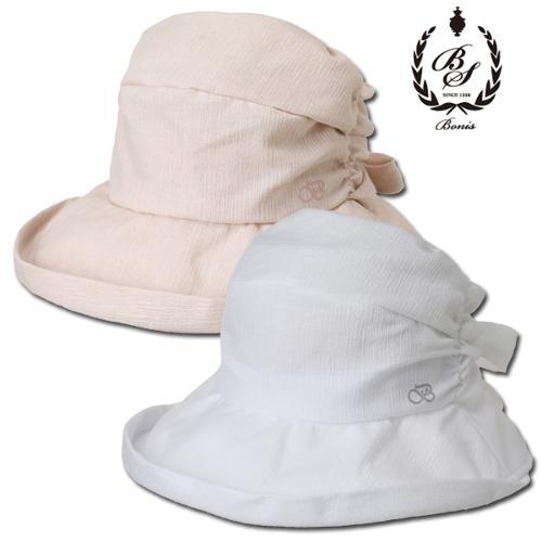 [보니스 골프] 면폴리 주름디테일 리본 여성 벙거지 모자/골프모자_100167
