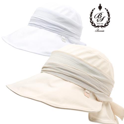 [보니스 골프] 베이직컬러 쉬폰 리본 포인트 여성 챙 모자/골프모자_100156