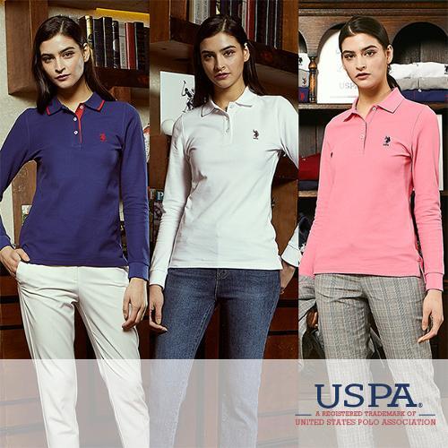[USPA] 화이트라벨 여성 로고자수 카라넥 긴팔티셔츠 3종 택1/골프웨어_100720