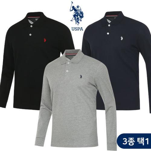 [USPA] 면스판 베이직 로고자수 남성 카라넥 긴팔티셔츠 3종 택1/골프웨어_100765