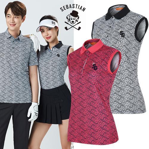 [세바스찬골프] 폴리스판 레터링 패턴 여성 배색카라넥 민소매 티셔츠/골프웨어_101525