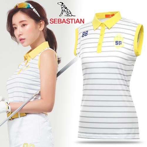 [세바스찬골프] 옐로우 카라 포인트 여성 민소매 티셔츠_101415