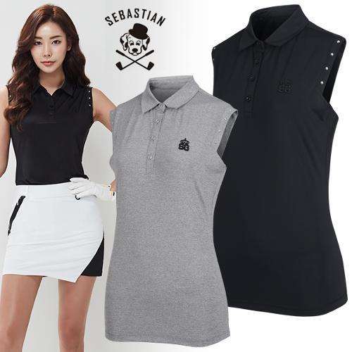 [세바스찬골프] 큐빅장식 포인트 여성 카라넥 민소매 티셔츠/골프웨어_101321