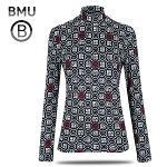 [BMU 골프] 피치기모 스마일 패턴 여성 하프넥 긴팔티셔츠/골프웨어_100600